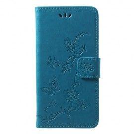 Book Case Hoesje Bloemen Huawei P20 Lite - Blauw