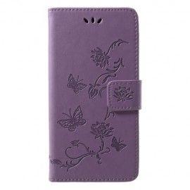 Book Case Hoesje Bloemen Huawei P20 Lite - Paars
