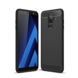 Armor Brushed TPU Hoesje Samsung Galaxy A6 Plus (2018) - Zwart