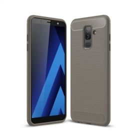 Armor Brushed TPU Hoesje Samsung Galaxy A6 Plus (2018) - Grijs