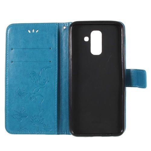 Book Case Hoesje Bloemen Samsung Galaxy A6 (2018) - Blauw