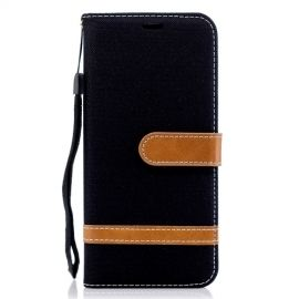 Denim Book Case Samsung Galaxy A6 (2018) Hoesje - Zwart