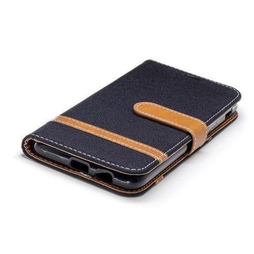 Denim Book Case Samsung Galaxy A6 (2018) Hoesje - Zwart