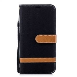 Denim Book Case Huawei P20 Lite Hoesje - Zwart