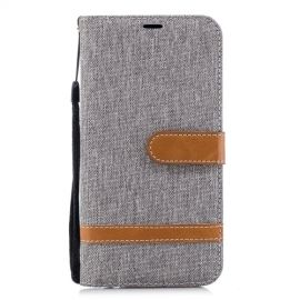 Denim Book Case Huawei P20 Lite Hoesje - Grijs