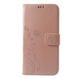 Book Case Bloemen iPhone Xs Max Hoesje - Rose Gold
