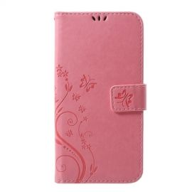 Book Case Bloemen iPhone Xs Max Hoesje - Pink