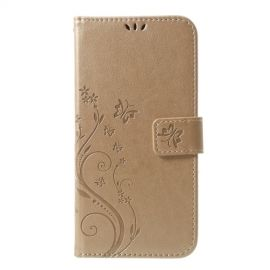 Book Case Bloemen iPhone Xs Max Hoesje - Goud