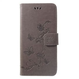 Book Case Bloemen Huawei P Smart Plus Hoesje - Grijs