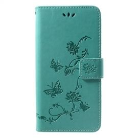 Book Case Bloemen Huawei P Smart Plus Hoesje - Cyan
