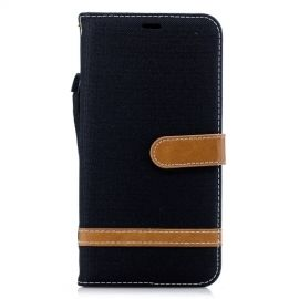 Denim Book Case iPhone Xs Max Hoesje - Zwart