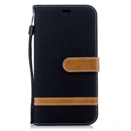 Denim Book Case iPhone Xr Hoesje - Zwart