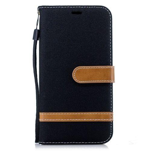 Denim Book Case iPhone Xr Hoesje - Zwart