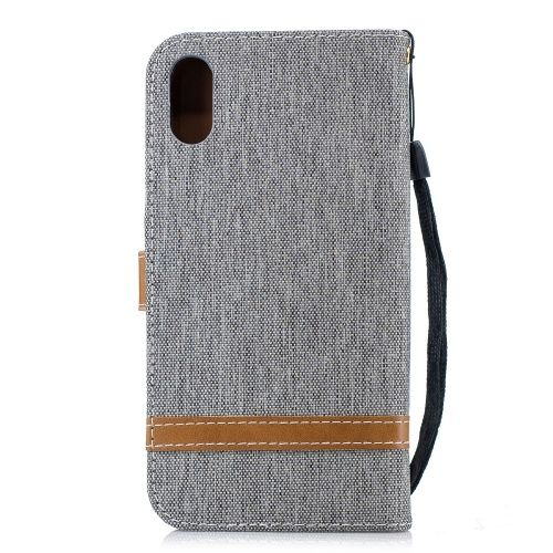 Denim Book Case iPhone Xr Hoesje - Grijs