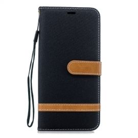 Denim Book Case Samsung Galaxy J4 Plus Hoesje - Zwart