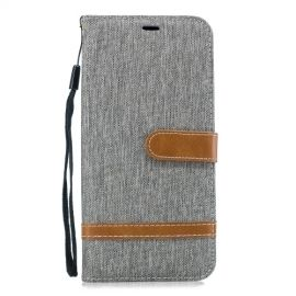 Denim Book Case Samsung Galaxy J4 Plus Hoesje - Grijs
