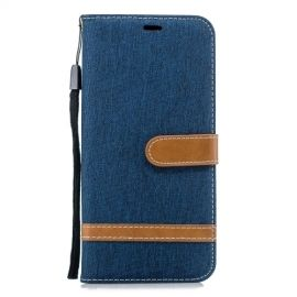 Denim Book Case Samsung Galaxy J4 Plus Hoesje - Blauw