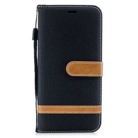 Denim Book Case Huawei Mate 20 Lite Hoesje - Zwart