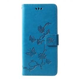 Book Case Bloemen Samsung Galaxy J6 Plus Hoesje - Blauw