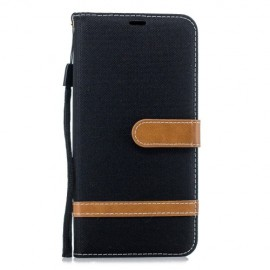 Denim Book Case Samsung Galaxy J6 Plus Hoesje - Zwart