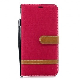 Denim Book Case Samsung Galaxy J6 Plus Hoesje - Rood