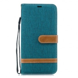 Denim Book Case Samsung Galaxy J6 Plus Hoesje - Groen
