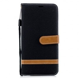 Denim Book Case Samsung Galaxy A7 (2018) Hoesje - Zwart