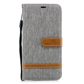 Denim Book Case Samsung Galaxy A7 (2018) Hoesje - Grijs