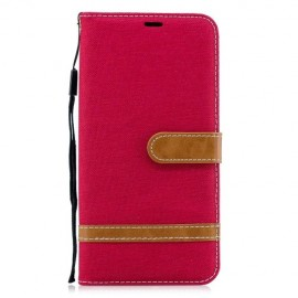 Denim Book Case Samsung Galaxy A7 (2018) Hoesje - Rood