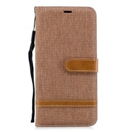Denim Book Case Samsung Galaxy A7 (2018) Hoesje - Khaki