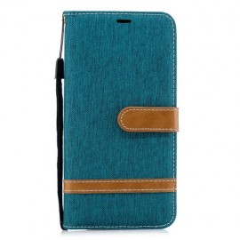 Denim Book Case Samsung Galaxy A7 (2018) Hoesje - Groen