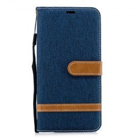 Denim Book Case Samsung Galaxy A7 (2018) Hoesje - Blauw