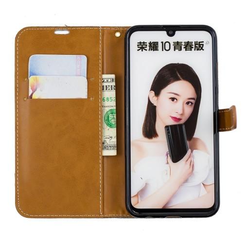 Denim Book Case Huawei P Smart 2019 / Honor 10 Lite Hoesje - Grijs