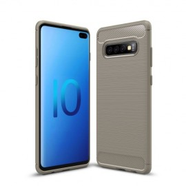 Armor Brushed TPU Samsung Galaxy S10 Plus Hoesje - Grijs