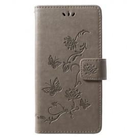 Bloemen Book Case Huawei P30 Lite Hoesje - Grijs