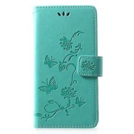 Bloemen Book Case Huawei P30 Lite Hoesje - Cyan
