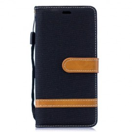 Denim Book Case Samsung Galaxy S10 Hoesje - Zwart