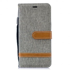 Denim Book Case Samsung Galaxy S10 Hoesje - Grijs