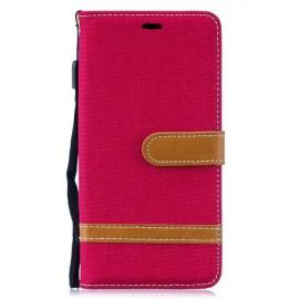 Denim Book Case Samsung Galaxy S10 Hoesje - Rood