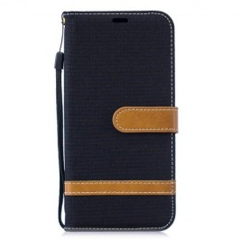 Denim Book Case Huawei P30 Lite Hoesje - Zwart