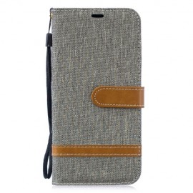 Denim Book Case Huawei P30 Lite Hoesje - Grijs