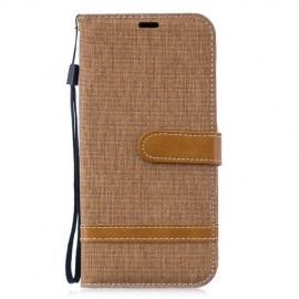 Denim Book Case Huawei P30 Lite Hoesje - Khaki