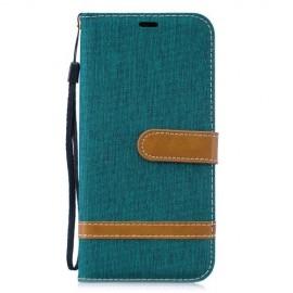 Denim Book Case Huawei P30 Lite Hoesje - Groen