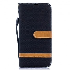 Denim Book Case Samsung Galaxy A50 Hoesje - Zwart