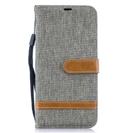 Denim Book Case Samsung Galaxy A50 Hoesje - Grijs