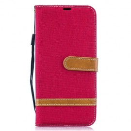 Denim Book Case Samsung Galaxy A50 Hoesje - Rood