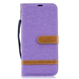 Denim Book Case Samsung Galaxy A50 Hoesje - Paars