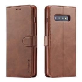 Luxe Book Case Samsung Galaxy S10 Hoesje - Donkerbruin