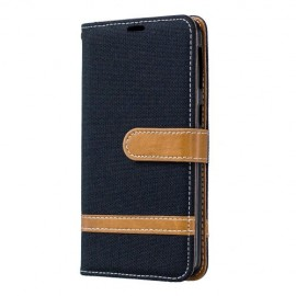 Denim Book Case Samsung Galaxy A40 Hoesje - Zwart