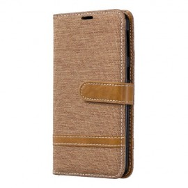Denim Book Case Samsung Galaxy A40 Hoesje - Bruin